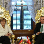 ISTANBUL, TURKEY - OCTOBER 18: German Chancellor Angela Merkel (L) meets Turkey's President Recep Tayyip Erdogan at the Yildiz Palace State apartments during her visit in Istanbul, Turkey on October 18, 2015. (Photo by Turkish Presidency / Murat Cetinmuhurdar/Anadolu Agency/Getty Images)